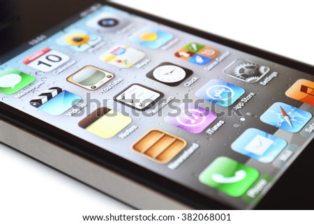Prague, Czech Republic - June 10, 2012: Close up view of the screen of iPhone cellular phone. iPhone was created and developed by the Apple inc.