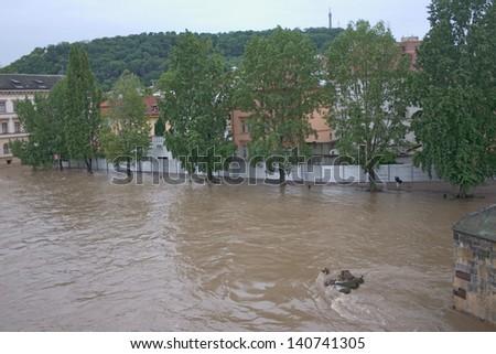 PRAGUE, CZECH REPUBLIC - JUNE 2: Flood barriers in Malastrana, Prague, are erected because of the flooding, on June 2, 2013 in Prague, Czech Republic - stock photo