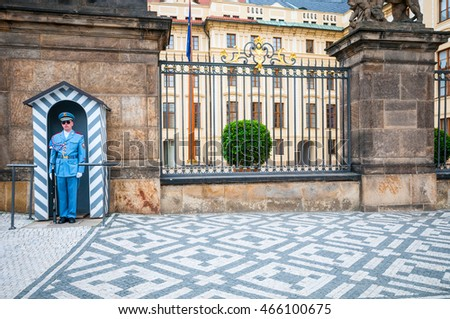 PRAGUE, CZECH REPUBLIC - JUNE 20, 2016: Honor guard near the Presidential Palace in the Prague Castle