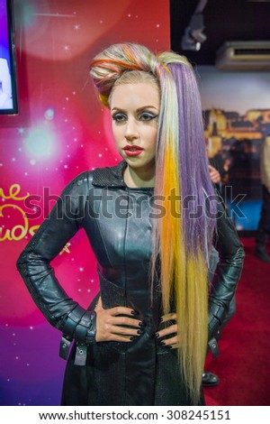 PRAGUE, CZECH REPUBLIC - JUNE 29, 2015: LAdy Gaga in the Madame Tussaud museum in Prague. Madame Tussaud museum is the museum of the wax figures - stock photo