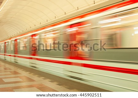 PRAGUE, CZECH REPUBLIC - JUNE 20, 2016: Moving train on subway station Andel - stock photo