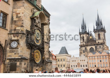 PRAGUE, CZECH REPUBLIC - JUNE 25,2016: Old Town Square, Astronomical Clock and Church of Our Lady before Tyn. Prague, Czech Republic.