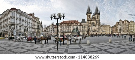 PRAGUE, CZECH REPUBLIC - JUNE 2: Old Town Square, June 2, 2012 in Prague, Czech Republic. It is the most well know city square (Staromestka nameste). - stock photo