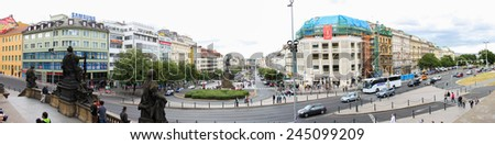 PRAGUE, CZECH REPUBLIC - JUNE, 21st, 2014: Panorama shot of Wilson's street and Vaclavske namesty (Square of St. Wenceslas) look from balcony of National museum on 21st June 2014. - stock photo