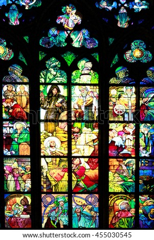 PRAGUE, CZECH REPUBLIC - JUNE 05, 2016: Stained-glass Window designed by Art Nouveau painter Alfons Mucha in St. Vitus Cathedral, Prague, Czech Republic - stock photo