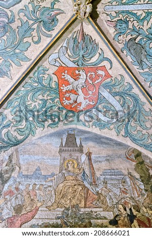 PRAGUE, CZECH REPUBLIC - June 05, 2014: Vibrant mosiac frescoes decorate the vaulted interior at the first floor of the Old Town Hall (Staromestska Radnice) in Prague, Czech Republic.