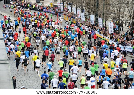 PRAGUE, CZECH REPUBLIC - MARCH 30: Hobby runners start in the Hervis Half Marathon, March 30, 2012 in Prague, Czech republic. - stock photo