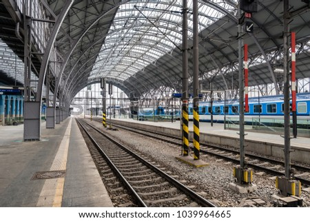 Prague, Czech Republic- March 05, 2018: Main and biggest railway station in Prague. Modern train station platform near the historical building in Prague, Czech Republic