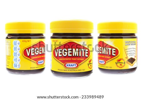 PRAGUE, CZECH REPUBLIC - May 15 2011: A studio shot of a jars of Vegemite. Vegemite is a very popular yeast based spread in Australia. - stock photo