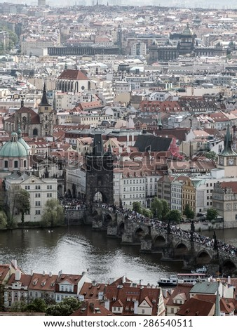 PRAGUE, CZECH REPUBLIC - MAY 2 2015: Charles Bridge full of tourists, Prague, Czech Republic - stock photo