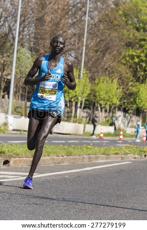 PRAGUE, CZECH REPUBLIC - 3 MAY 2015: Chemungor from Kenya on Volkswagen Marathon Prague, Czech Republic. The world's best marathon runners in the lead The world's top marathon runners in the lead - stock photo