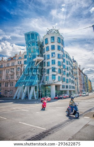 """PRAGUE, CZECH REPUBLIC - MAY 8, 2015: """"Dancing House"""" Deconstructivist administrative office building, built Vlado Mylunychem and Frank Gehry in 1992-96 years. May 8, 2015. Prague, Czech Republic. - stock photo"""