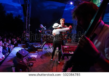 PRAGUE, CZECH REPUBLIC - MAY 12: Famous french electroswing band performed great concert at Free Fest Troja 2012 in Lodenice Troja, Prague, on May 12, 2012.