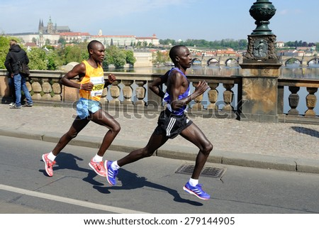 PRAGUE, CZECH REPUBLIC - MAY 3, 2015: Group of leading runners runs the Volkswagen Marathon Prague, May 3, 2015 in Prague, Czech republic. - stock photo
