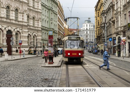 PRAGUE,CZECH REPUBLIC - MAY 7: One of the symbol of Prague; a tram - cable car is waiting for passengers in the station May 7,2013 in Prague, Czech Republic.