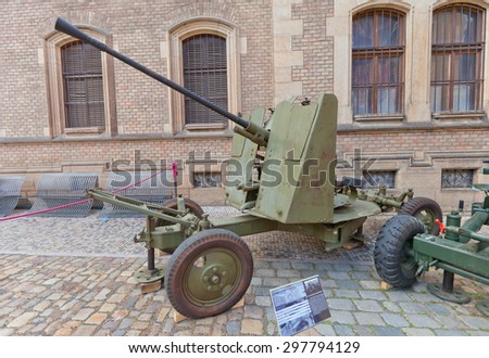 PRAGUE, CZECH REPUBLIC - MAY 07, 2015: Soviet 37 mm automatic air defense gun M1939 (61-K) at St. George Square in Prague. Used by Czechoslovak Army during WWII