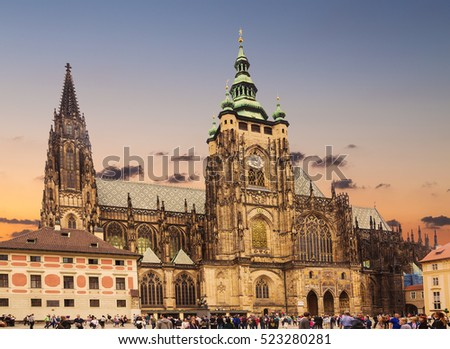 PRAGUE, CZECH REPUBLIC - MAY 30, 2016: Tourists near the Cathedral of St. Vitus. Czech Republic