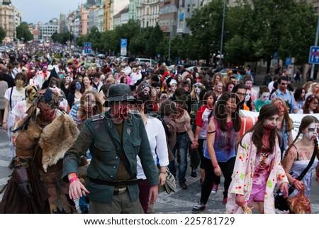 Prague, Czech Republic, May 24 2014 - Zombie at the 2014 Prague Zombie Walk - stock photo