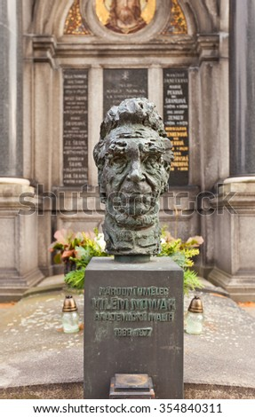 PRAGUE, CZECH REPUBLIC - NOVEMBER 12, 2015: Bust of Vilem Nowak on his family grave in Vysehrad cemetery of Prague. Vilem Nowak (1886-1977) was a Czech painter, photographer and university lecturer - stock photo