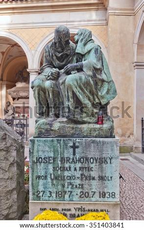 PRAGUE, CZECH REPUBLIC - NOVEMBER 12, 2015: Monument to Josef Drahonovsky on his family grave in Vysehrad cemetery of Prague. Josef Drahonovsky (1877-1938) was a Czech sculptor, painter, glyptic - stock photo