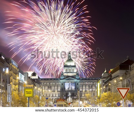 PRAGUE, CZECH REPUBLIC-  NOVEMBER 15, 2014:Night view of Wenceslas Square and holiday fireworks in the New Town of Prague, Czech Republic