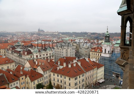 PRAGUE, CZECH REPUBLIC-  NOVEMBER 17, 2014: Prague roof tops and Old Town Square, Czech Republic
