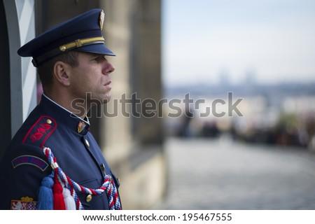 PRAGUE, CZECH REPUBLIC - OCT 24: Soldier of elite Prague Castle Guard in front of Prague Castle entrance on October 24 2013 in Prague, Czech Republic. - stock photo