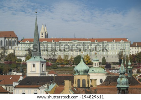 PRAGUE, CZECH REPUBLIC - OCT 24: The skyline of Old Town Prague on October 24, 2013 in Prague, Czech Republic. Prague received 5.1 million visitors in 2012: Europe's 5th most visited city.