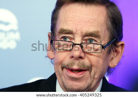 PRAGUE, CZECH REPUBLIC, October 11. 2010: former president and playwright Vaclav Havel discusses in the conference Forum 2000 on October 11. 2010 in Prague, Czech Republic - stock photo