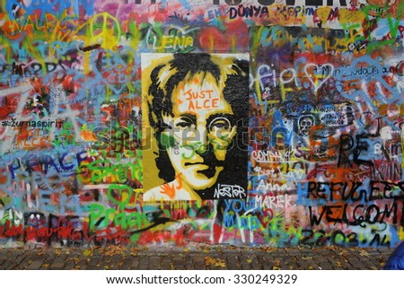 PRAGUE, CZECH REPUBLIC - OCTOBER 22: The Lennon Wall since the 1980s is filled with John Lennon-inspired graffiti and pieces of lyrics from Beatles songs on Oct 22, 2015 in Prague, Czech Republic
