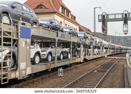 PRAGUE, CZECH REPUBLIC, 15 OCTOBER, 2015: Transporting cars by rail
