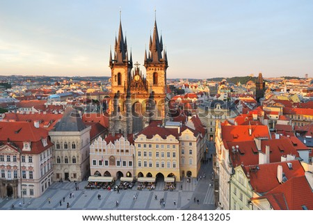 Prague, Czech Republic. Old Town Square and Tyn Cathedral of the Virgin Mary at sunset