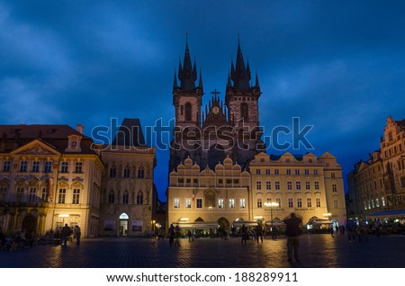 PRAGUE, CZECH REPUBLIC - SEP 03: Night time illuminations of the  Town Square and fairy tale Church of our Lady Tyn (1365) on Sep 03, 2013 in Prague, Czech Republic.