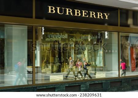 PRAGUE, CZECH REPUBLIC - SEPTEMBER 18, 2014: Burberry store. Burberry is a British luxury fashion house, distributing unique luxury outerwear, fashion accessories, fragrances, sunglasses, cosmetics. - stock photo