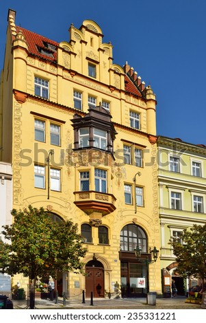 PRAGUE, CZECH REPUBLIC - SEPTEMBER 29, 2014:Czech Eagle (Buben House) built in style of Romantic Czech Neo-Renaissance in 1897 according to project by Ohmann on site of demolished Medieval buildings