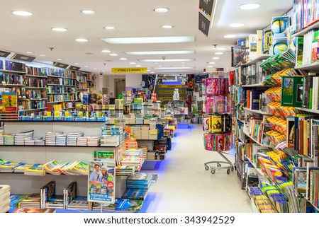 PRAGUE, CZECH REPUBLIC - SEPTEMBER 23, 2015: Interior view of Dobrovsky bookstore in Prague. This is one of the largest networks specializing in books sales with 24 stores throughout the country. - stock photo