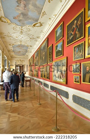 PRAGUE, CZECH REPUBLIC - SEPTEMBER 27, 2014:Nostitz Palace was residence of noble family of Nostitz-Rieneck.There was renowned Nostitz Picture Gallery since 1736 and it became part of National Gallery - stock photo