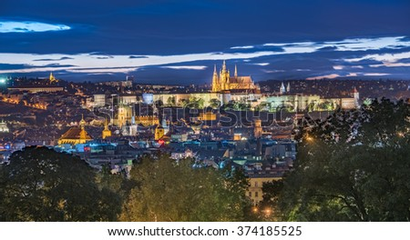 PRAGUE, CZECH REPUBLIC - SEPTEMBER 20, 2015: Old Town Panorama from Riegrovy Sady Beer Garden, Prague, Czech Republic