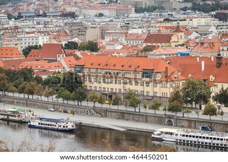 PRAGUE, CZECH REPUBLIC- 20 September, 2015: Prague old town aerial view