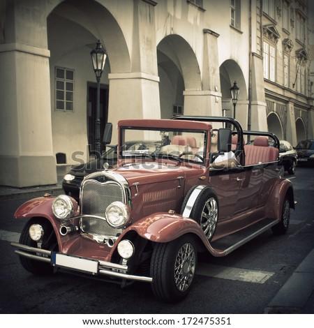 Prague, Czech Republic - September 6, 2013. Retro car on the streets of Prague on September 6, 2013 in Prague - stock photo