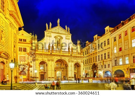 PRAGUE, CZECH REPUBLIC- SEPTEMBER 13, 2015: Saint Francis of Assisi Church square in Prague.Czech Republic. - stock photo