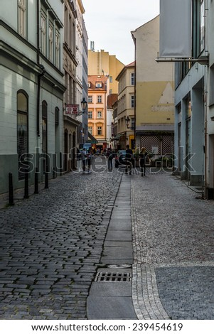 PRAGUE, CZECH REPUBLIC - SEPTEMBER 18, 2014: Street and everyday life of the city. Prague is the capital and largest city of the Czech Republic.