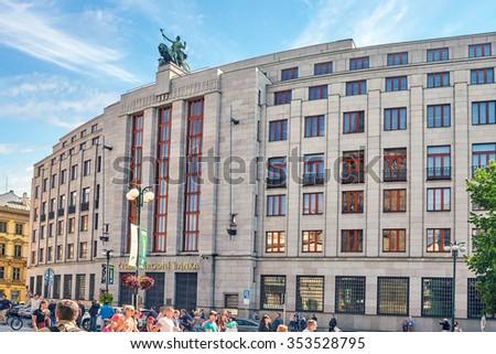 PRAGUE, CZECH REPUBLIC- SEPTEMBER 12, 2015: The building of the Czech National Bank. Ordinary views of Prague, architectural, street, people, life of the Czech capital. Czech Republic. - stock photo