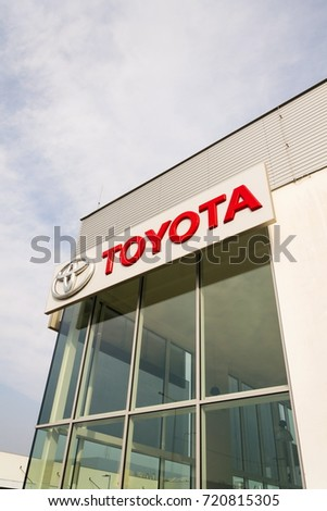 PRAGUE, CZECH REPUBLIC - SEPTEMBER 23: Toyota motor corporation logo on dealership building on September 23, 2017 in Prague. Toyota turns its Gazoo Racing Team into new sports brand, the GR brand.