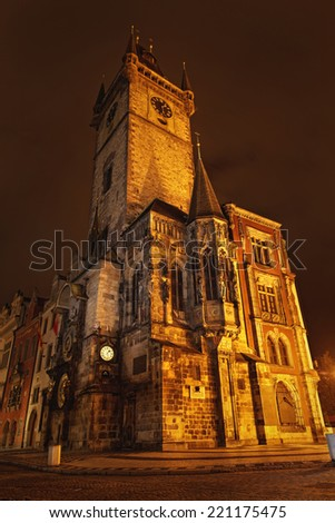 Prague, Czech Republic - view of square and astronomical clock at night. - stock photo