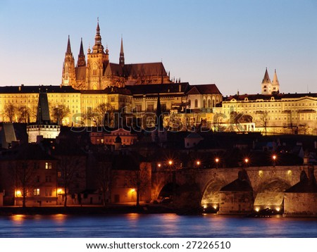 Prague gothic Castle past Sunset on the River Vltava