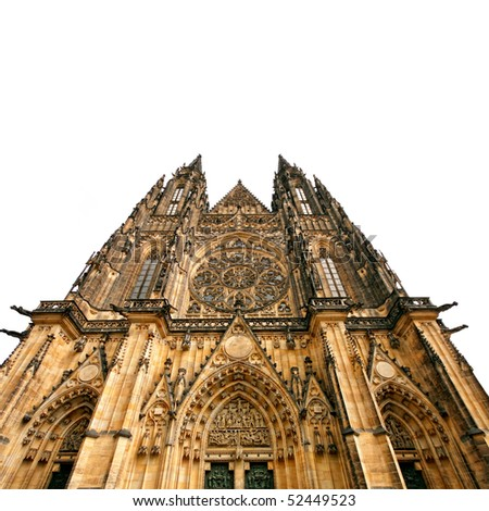 Prague gothic cathedral, isolated on white background