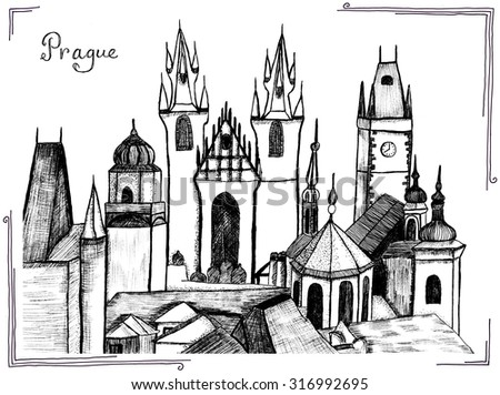 Prague hand drawn black and white ink sketch. Good for memory postcard, book or magazine article. - stock photo