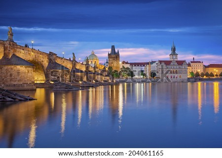 Prague. Image of Prague, capital city of Czech Republic and Charles Bridge, during twilight blue hour. - stock photo