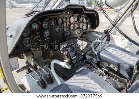 PRAGUE - 12 JUNE 2015: Helicopter rescue. Interior of Yellow helicopter on the ground. CZECH REPUBLIC - stock photo